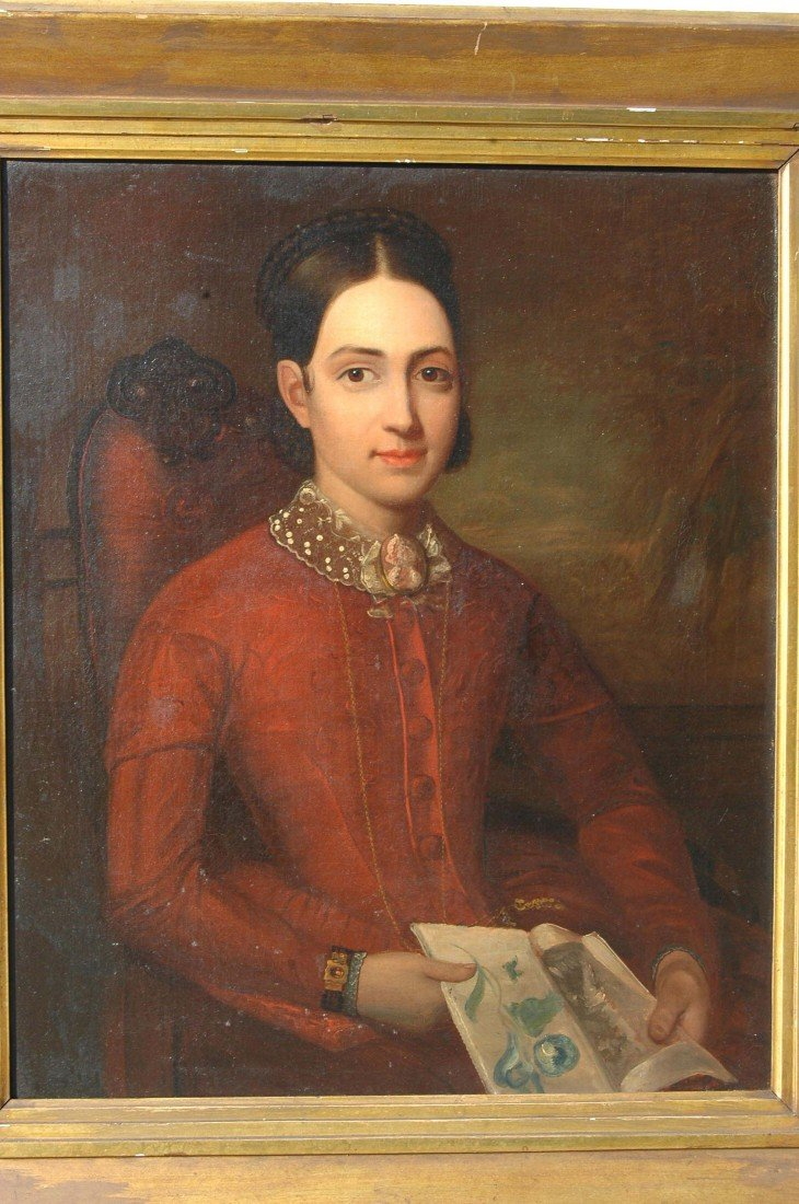 8: AM. SCHOOL, O/C, PORTRAIT OF YOUNG WOMAN, C. 1850 - 2