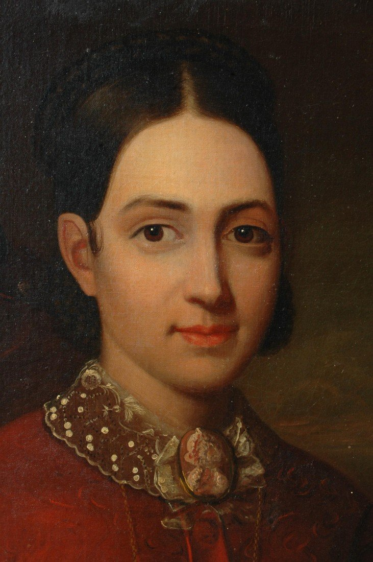 8: AM. SCHOOL, O/C, PORTRAIT OF YOUNG WOMAN, C. 1850 - 4