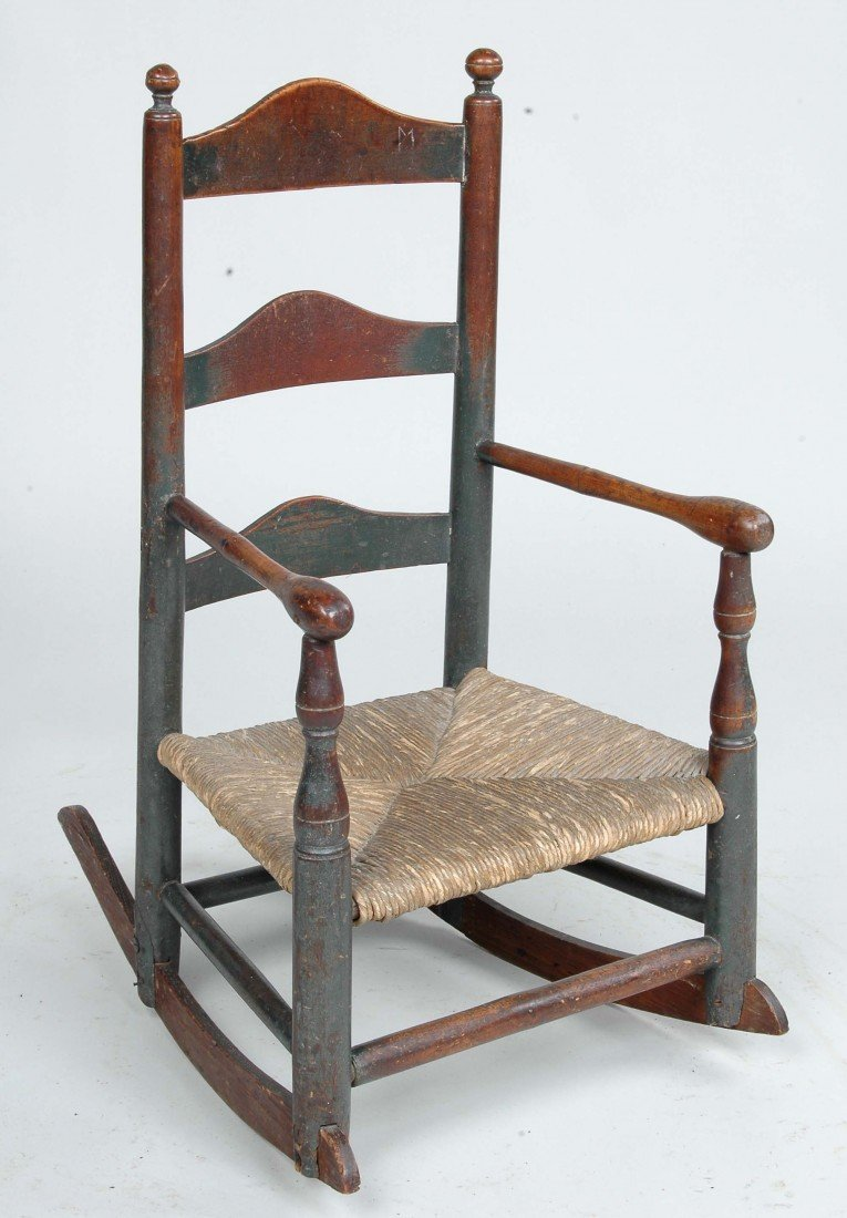 9:FINE DELAWARE VALLEY CHILD'S ROCKER, ORIG. GREEN