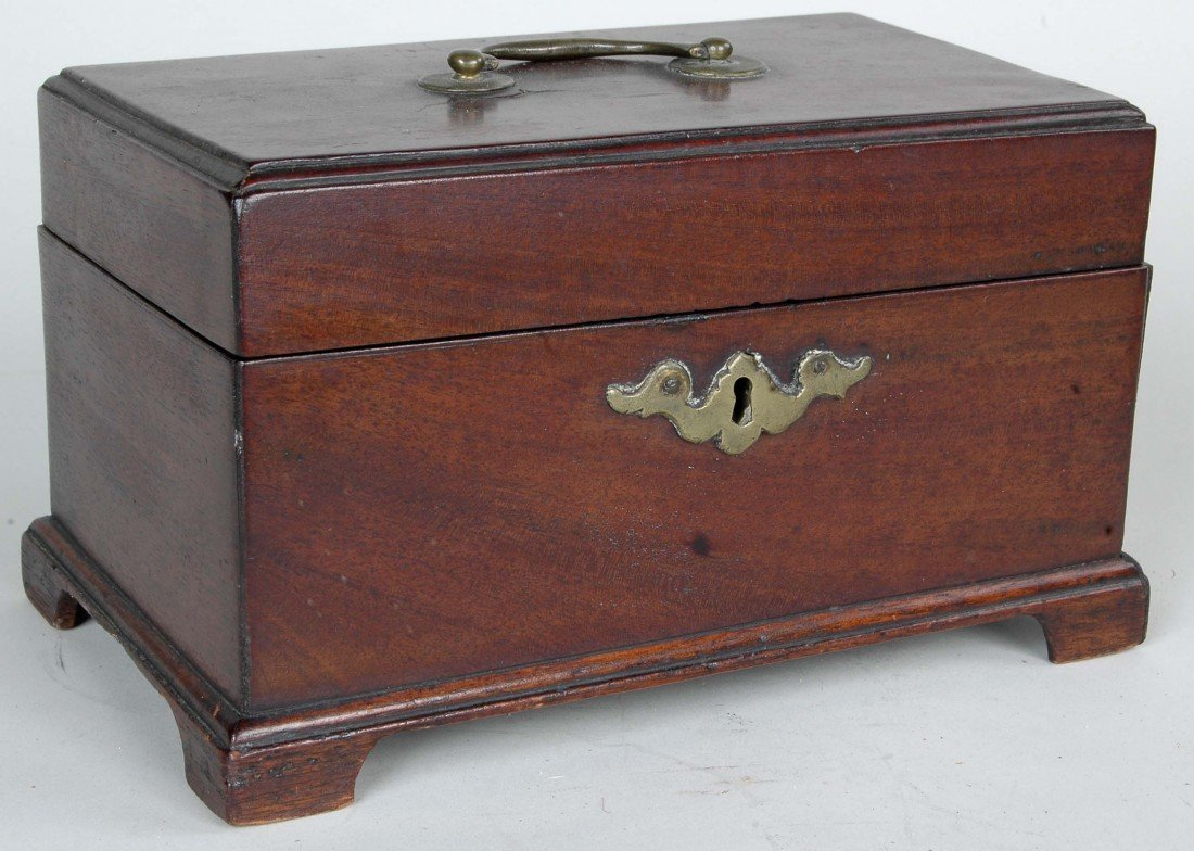 17: ENGLISH CHIPPENDALE MAHOGANY TEA CADDY, MID-18TH C.