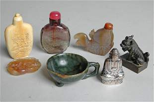 IMPORTANT GROUPING OF CHINESE JADE, IVORY & SILVER