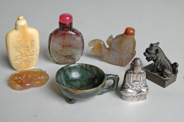 1: IMPORTANT GROUPING OF CHINESE JADE, IVORY & SILVER