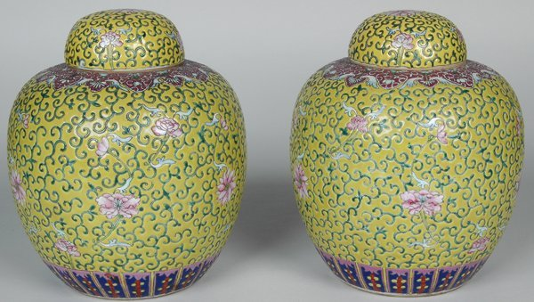 6: PAIR OF ANTIQUE CHINESE PORCELAIN GINGER JARS