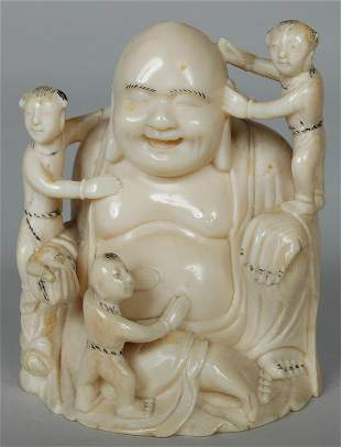 ANTIQUE CHINESE CARVED IVORY BUDDHA W/SERVANTS