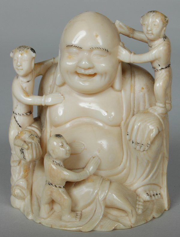 7: ANTIQUE CHINESE CARVED IVORY BUDDHA W/SERVANTS