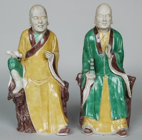 10: PAIR K'ANG HIS POLYCHROME FIGURES
