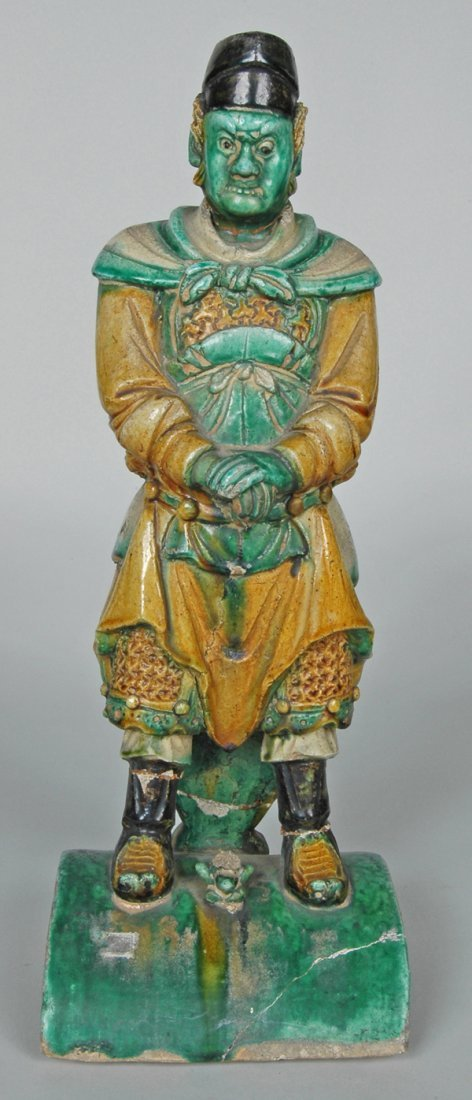 12: ANTIQUE CHINESE FIGURAL ROOF TILE