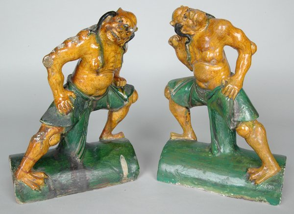 14: PAIR OF ANTIQUE CHINESE FIGURAL ROOF TILES