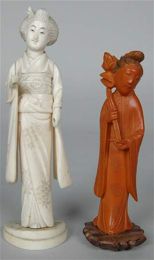 CHINESE CARVED CORAL? FIGURE OF WOMAN