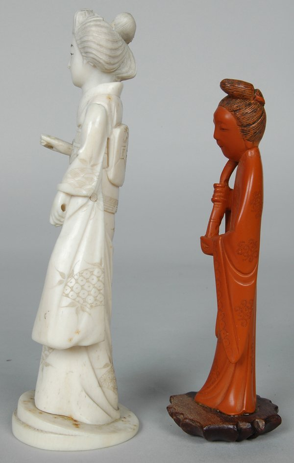 15: CHINESE CARVED CORAL? FIGURE OF WOMAN - 4