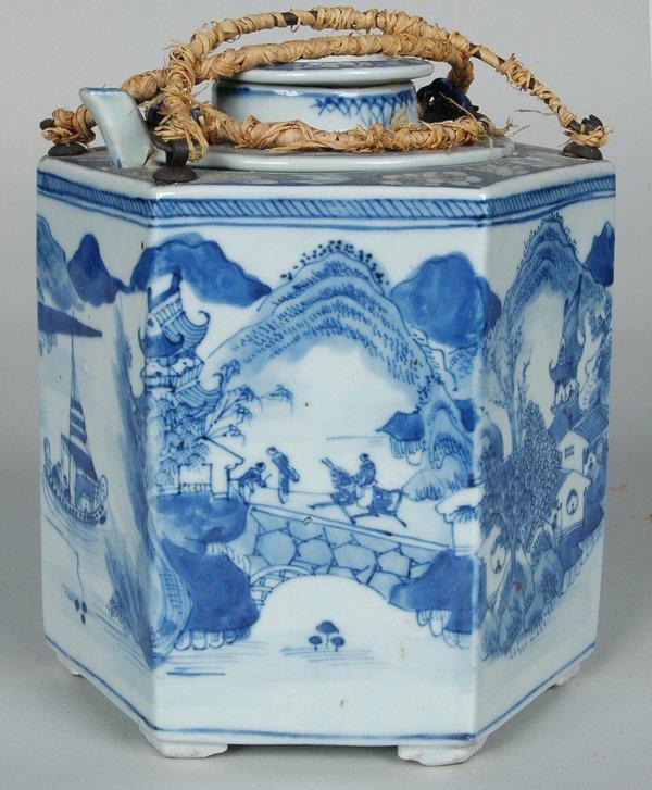 17: ANTIQUE CHINESE HEXAGONAL ARGYLE FORM TEAPOT