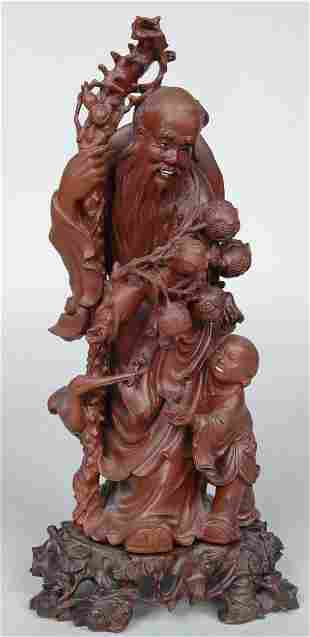 19TH C. CHINESE HARDWOOD CARVED FIGURE