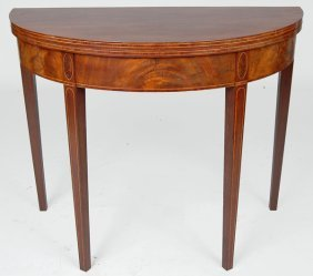 FINE HEPPLEWHITE MAHOGANY CARD TABLE