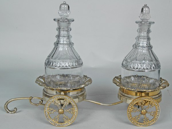 98: 19TH C.  DECANTER TROLLEY & DECANTERS
