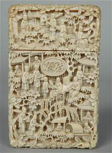 INTRICATE 19TH C. CHINESE IVORY CARD CASE
