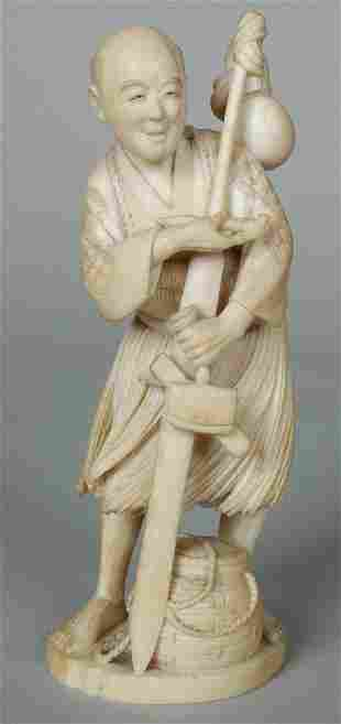 19TH C. MEIJI JAPANESE IVORY FISHERMAN