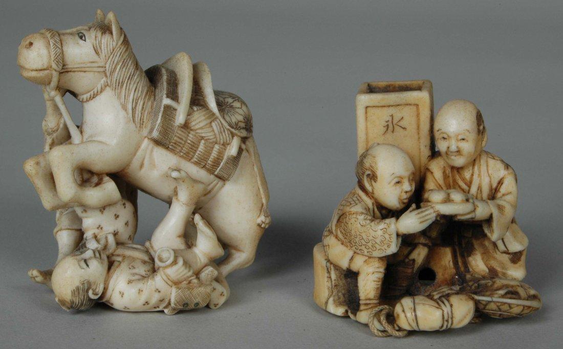 19TH C. JAPANESE IVORY HORSE W/2 FIGURES