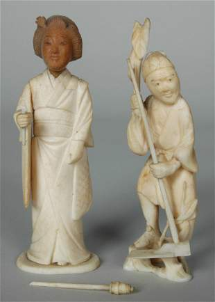 TWO 19TH C. JAPANESE IVORY FIGURES