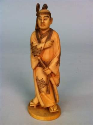 19TH C. JAPANESE IVORY SAMURAI WARRIOR
