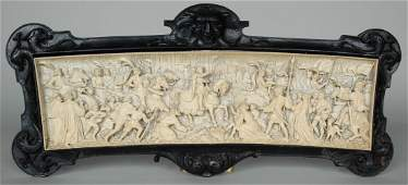 IMPORTANT CONTINENTAL 19TH C IVORY PLAQUE