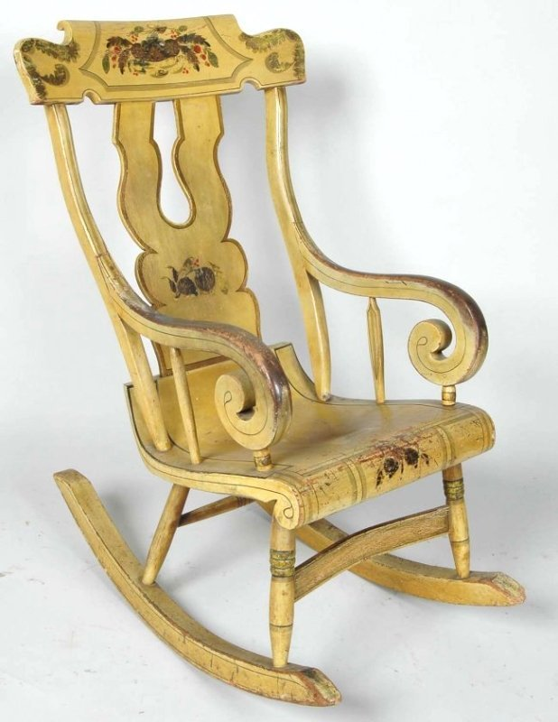 PENNSYLVANIA YELLOW WINDSOR ROCKING CHAIR, CIRCA 1835
