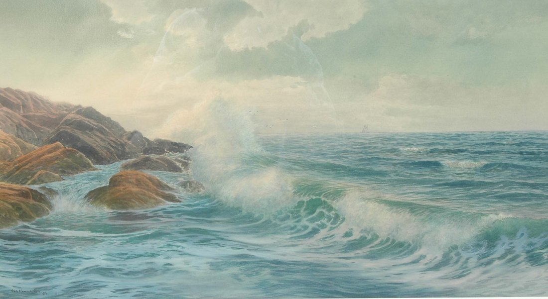 GEORGE HOWELL GAY, WATERCOLOR, SEASCAPE, 1919
