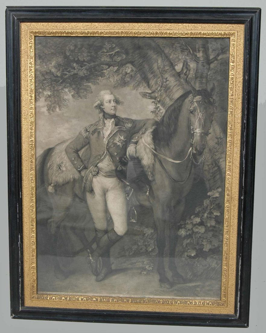 18TH C. ENGLISH MEZZOTINT OF GEORGE IV, JOHN R. SMITH