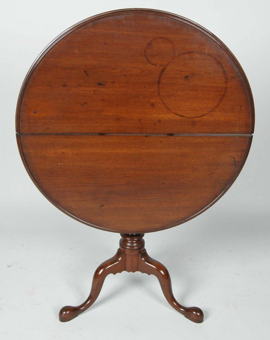 18TH C. PENNSYLVANIA WALNUT DISH TOP TEA TABLE - 2