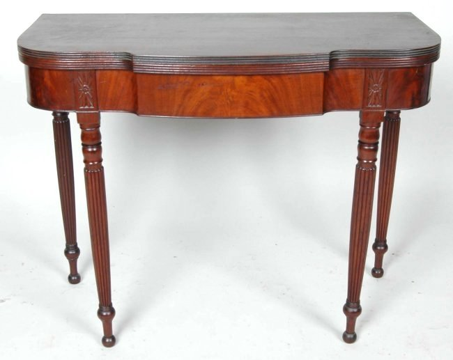 EARLY 19TH C. PHILADELPHIA SHERATON MAHOGANY CARD TABLE