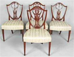 SET OF FOUR 19TH C. HEPPLEWHITE STYLE SIDECHAIRS