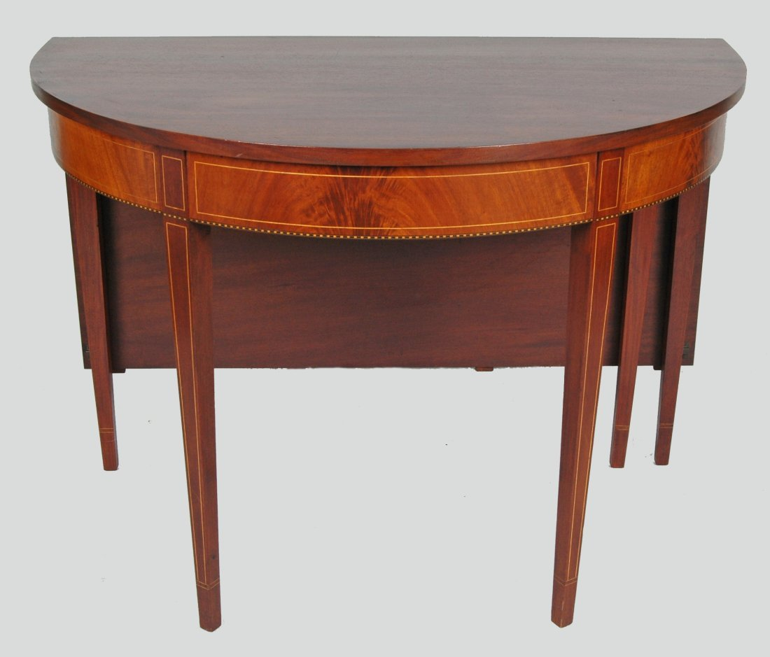 BIGGS FEDERAL MAHOGANY TWO PART DEMILUNE DINING TABLE