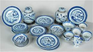 49 PIECES OF 19TH C. ANTIQUE CANTON CHINA