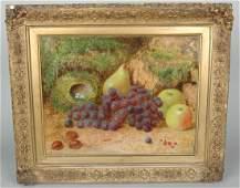 "FINE ENGLISH 19TH C. STILL LIFE ""FRUITS, NUTS & EGGS"""