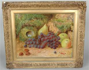 "FINE ENGLISH 19TH C. STILL LIFE ""FRUITS, NUTS & EGGS"""