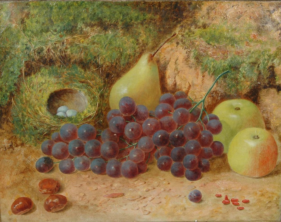 "FINE ENGLISH 19TH C. STILL LIFE ""FRUITS, NUTS & EGGS"" - 2"