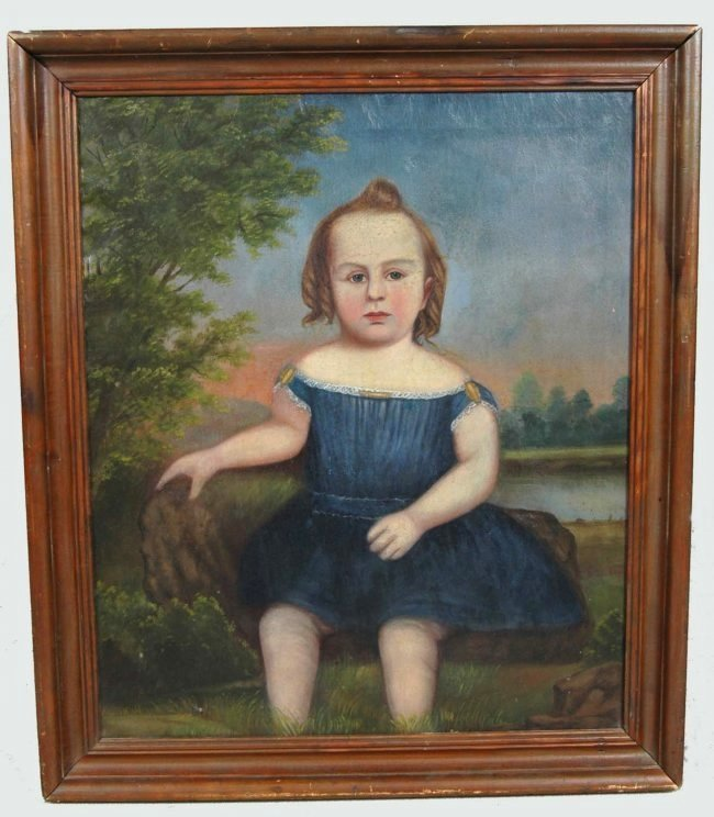 RARE SOUTHERN FOLK ART PORTRAIT OF YOUNG GIRL,