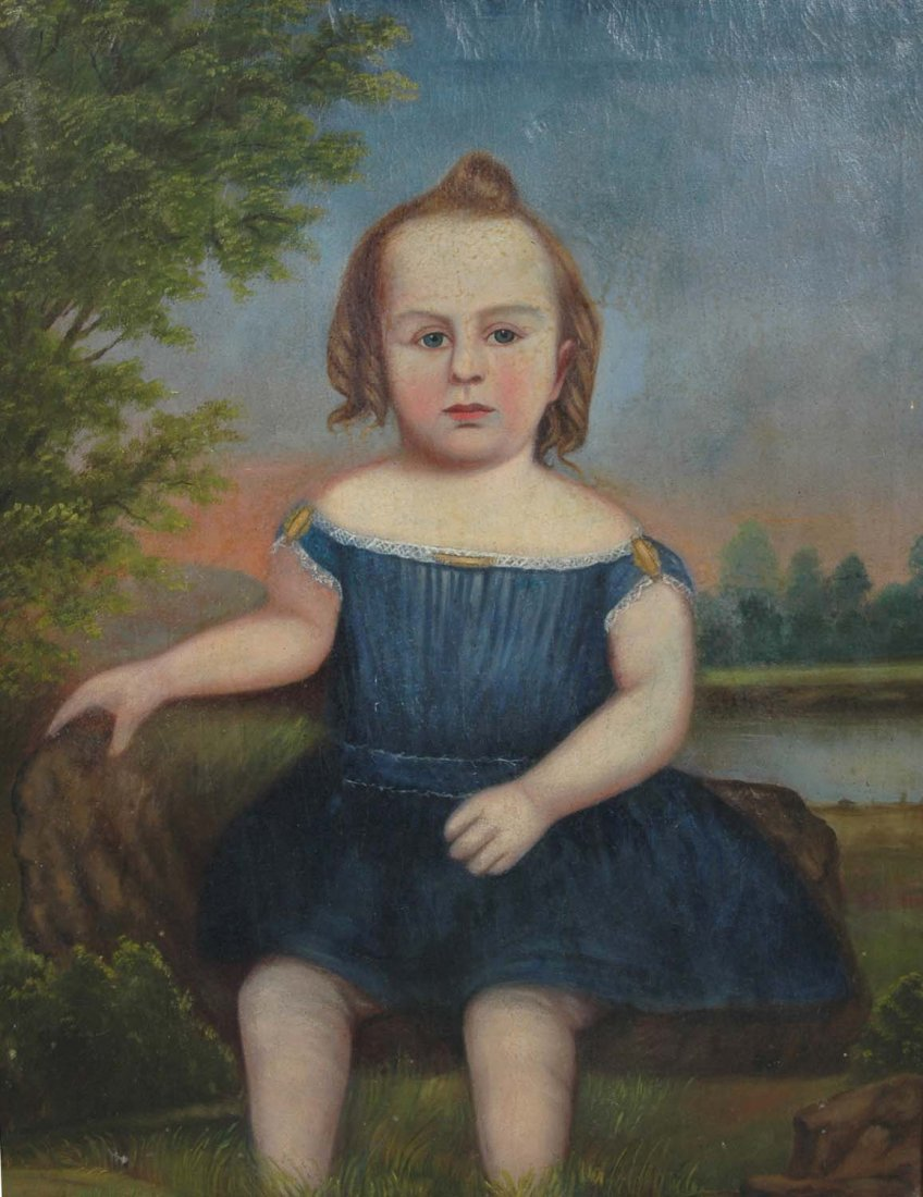 RARE SOUTHERN FOLK ART PORTRAIT OF YOUNG GIRL, - 2