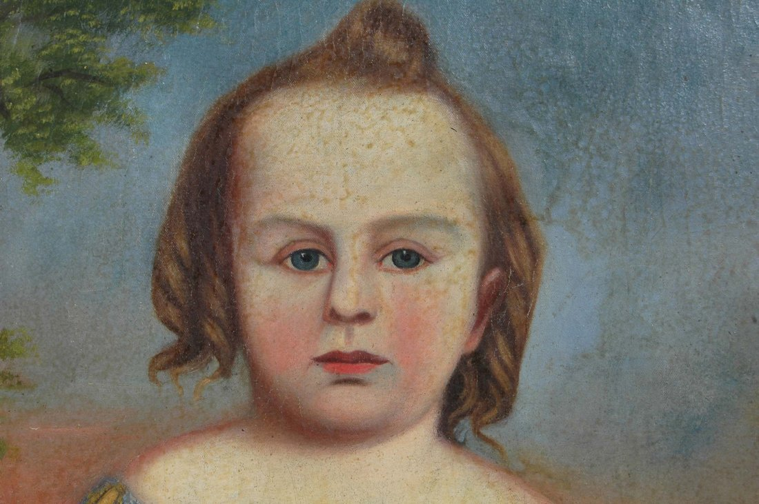 RARE SOUTHERN FOLK ART PORTRAIT OF YOUNG GIRL, - 3