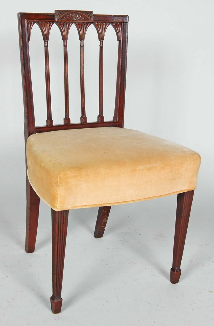 EARLY 19TH C. FEDERAL MAHOGANY SQUARE BACK SIDE CHAIR