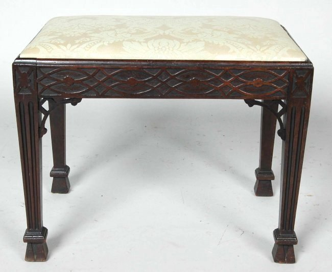 FINE ANTIQUE ENGLISH CHINESE CHIPPENDALE FOOTSTOOL