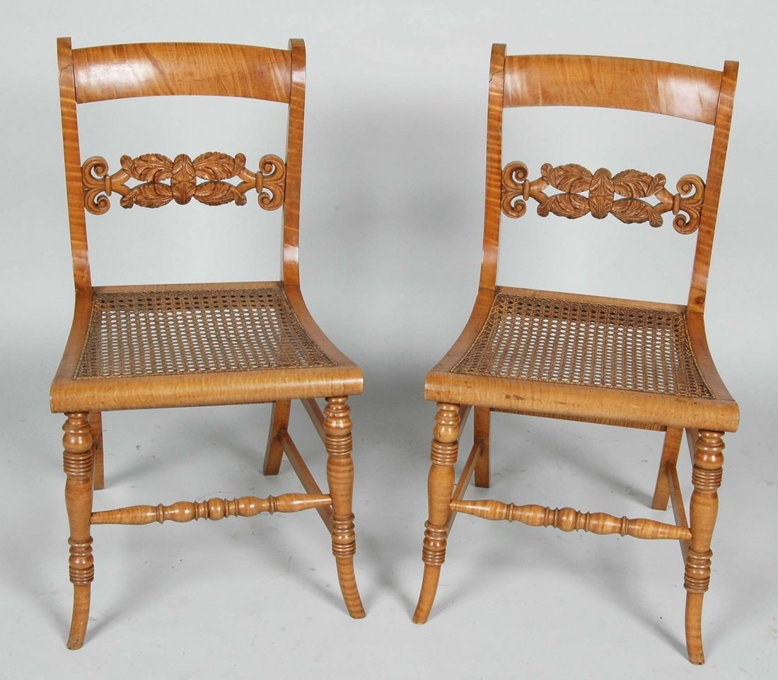FINE PAIR OF NEW YORK CLASSICAL TIGER MAPLE CHILD'S