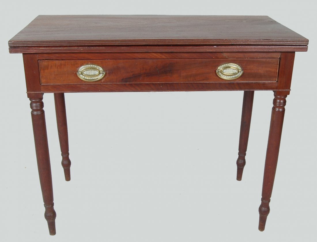 GOOD PENNSYLVANIA SHERATON MAHOGANY CARD TABLE