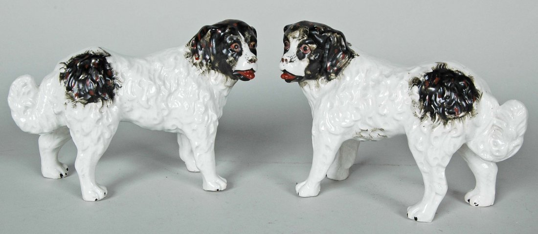 PAIR OF ANTIQUE PORCELAIN ST. BERNARD DOGS
