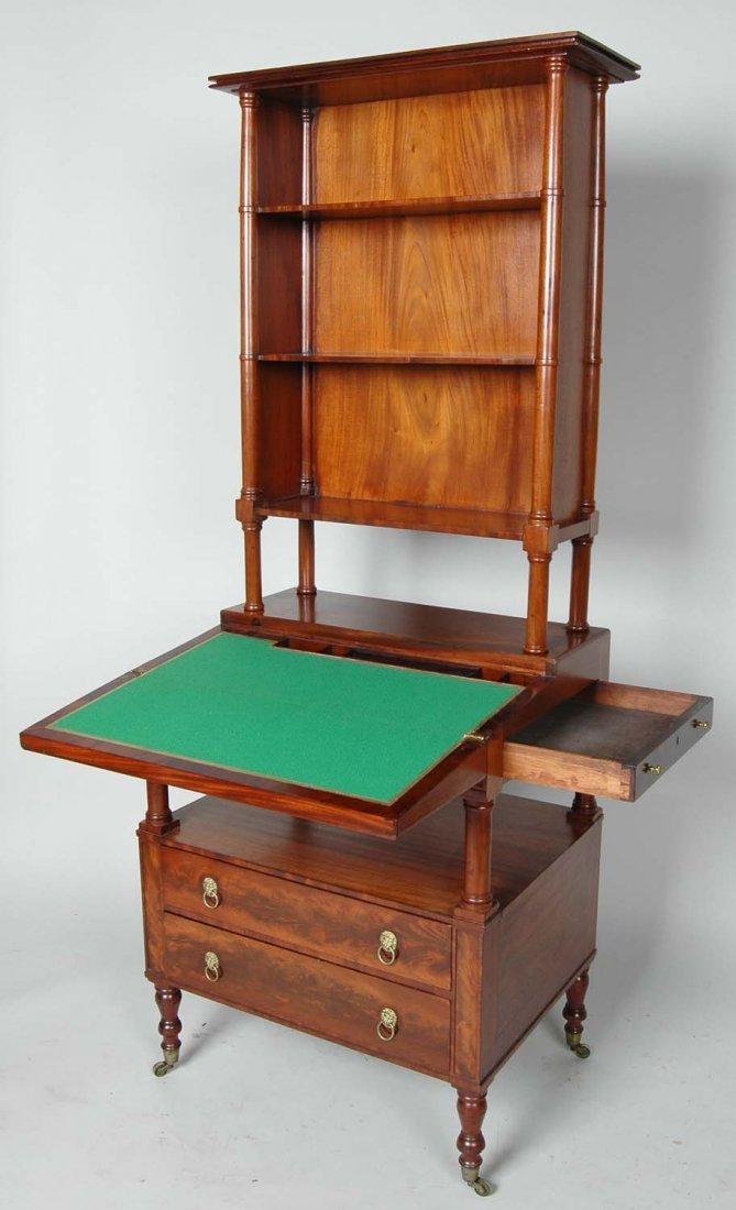 RARE BOSTON SHERATON SECRETARY BOOKCASE, CIRCA 1815