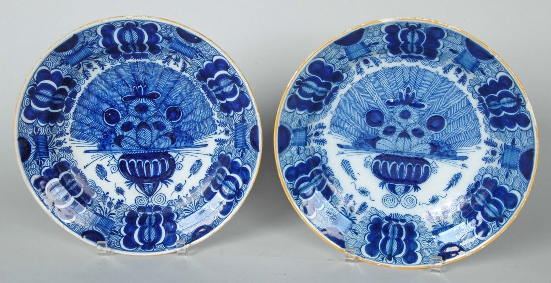 EXCEPTIONAL PAIR OF LARGE 18TH C. DUTCH DELFT LOW BOWLS