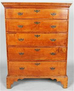 FINE NEW ENGLAND CHIPPENDALE FIGURED MAPLE TALL CHEST