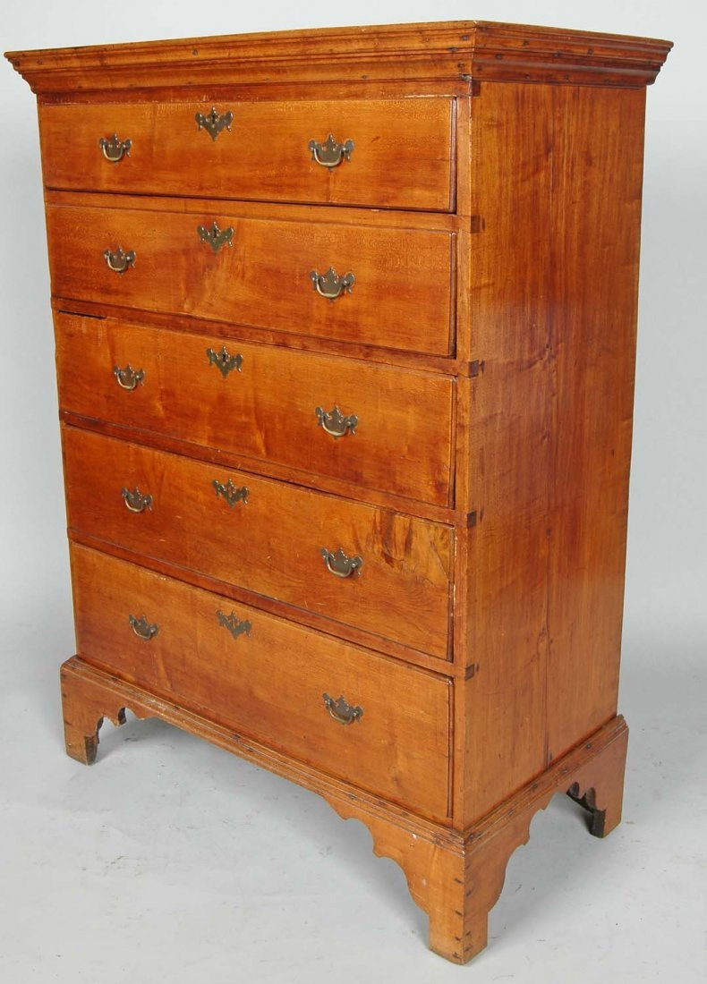 FINE NEW ENGLAND CHIPPENDALE FIGURED MAPLE TALL CHEST - 2