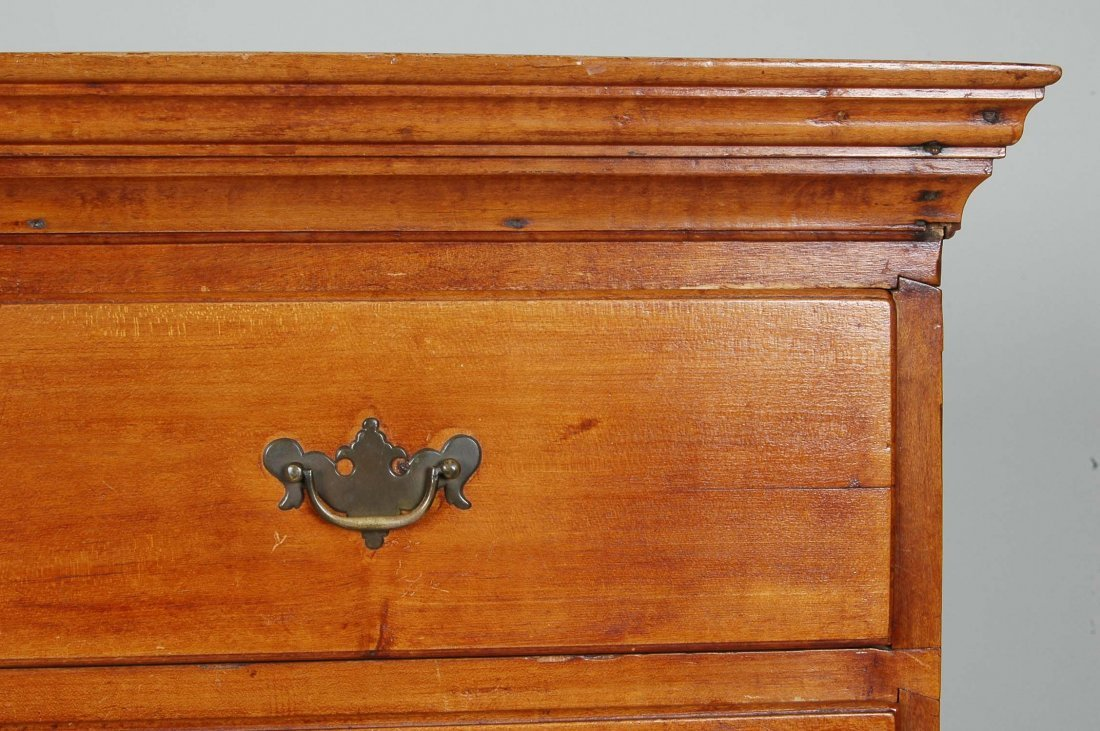 FINE NEW ENGLAND CHIPPENDALE FIGURED MAPLE TALL CHEST - 3