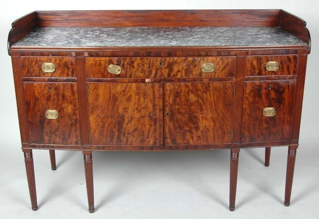 RARE EARLY 19TH C. SHERATON MAHOGANY SIDEBOARD