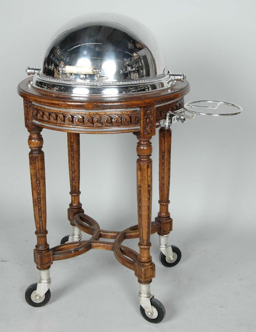 EXCEPTIONAL LOUIS XVI STYLE WALNUT  SERVING TROLLEY